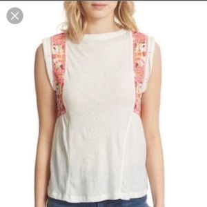 Free People Cotton Embroidered Marcy Cut Off Tank